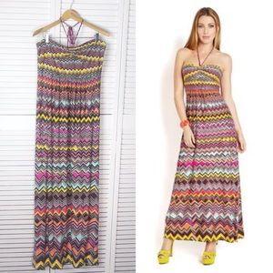 BCBGMaxAzria Chevron halter maxi dress